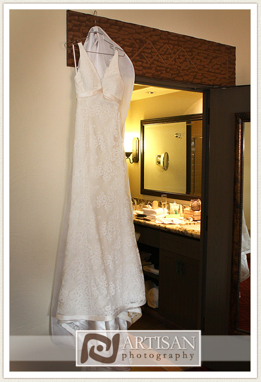 Camelback Inn Wedding Image of wedding dress hanging