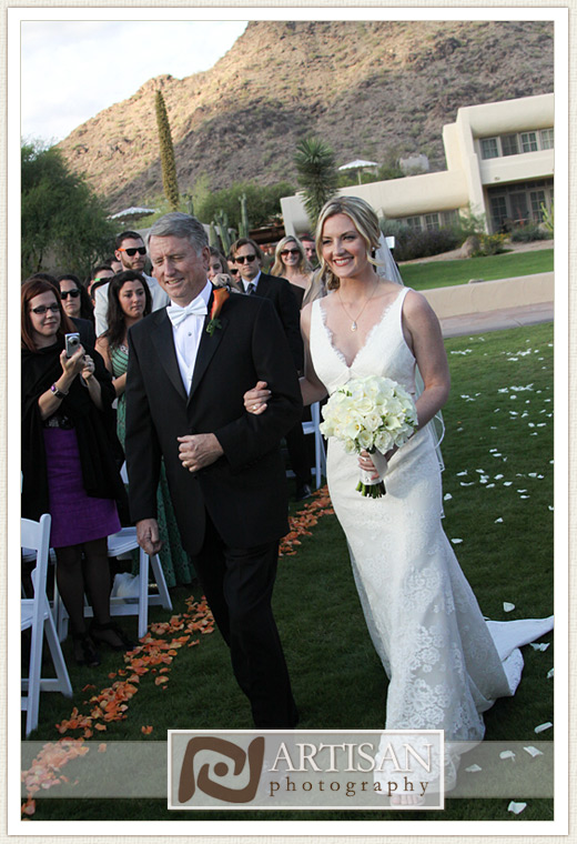 Camelback Inn Wedding Image of bride walking down the aisle