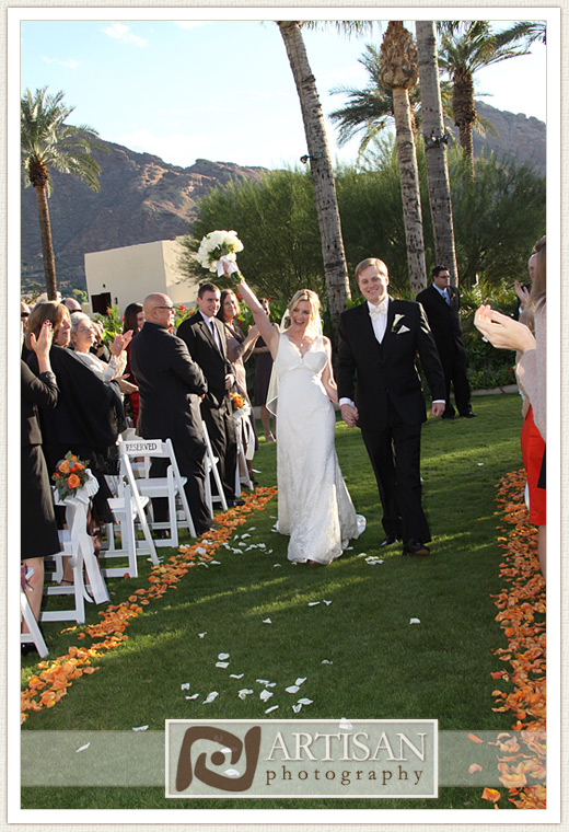 Camelback Inn Wedding Image of bride and groom walking out down the aisle