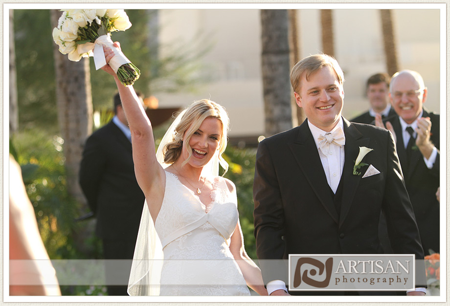 Camelback Inn Wedding Image of bride and groom walking out the aisle