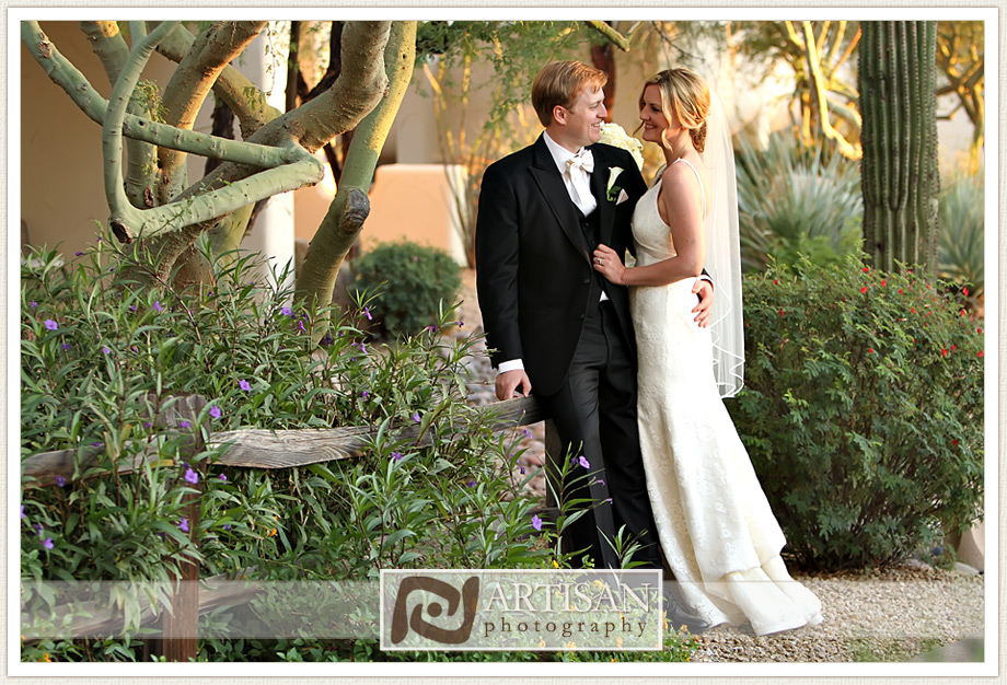 Camelback Inn Arizona Wedding Image of bride and groom candid shot
