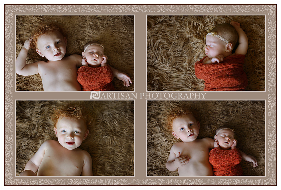 picture of baby girl and brother collage canvas by Artisan Photography