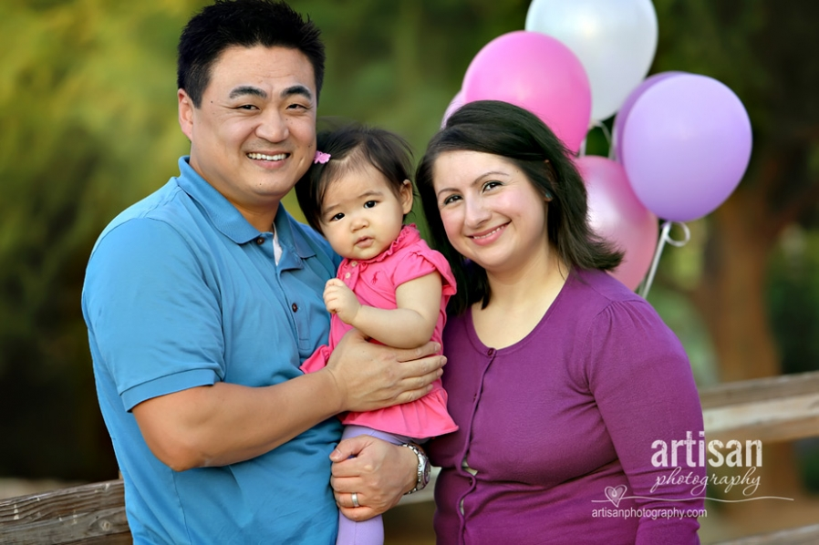 Family portrait at the park in pink blue and purple - Gilbert AZ