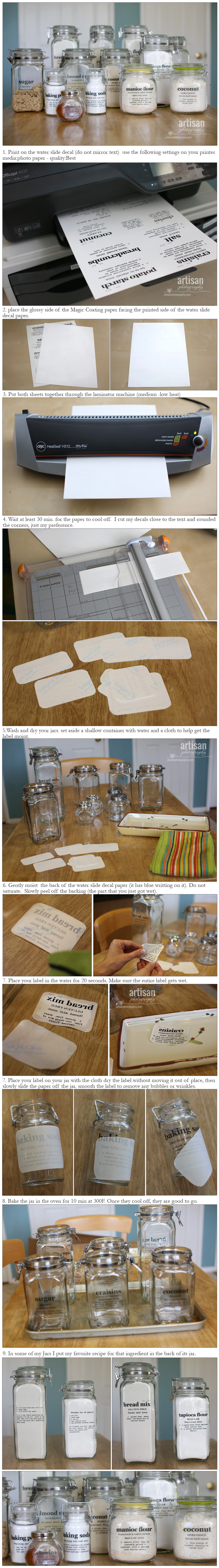 Instructions on how to make labels for glass jars using magic coating water slide paper.