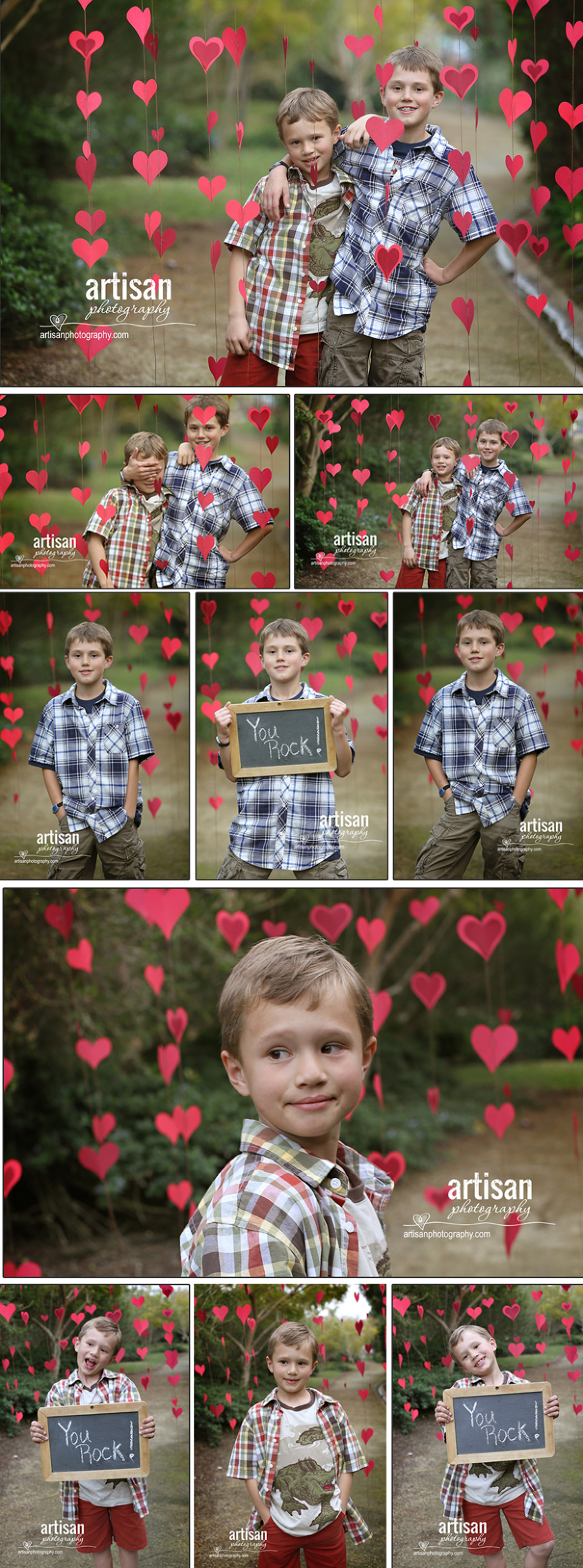 Valentines Day Photos of the kids with red hearts in the background