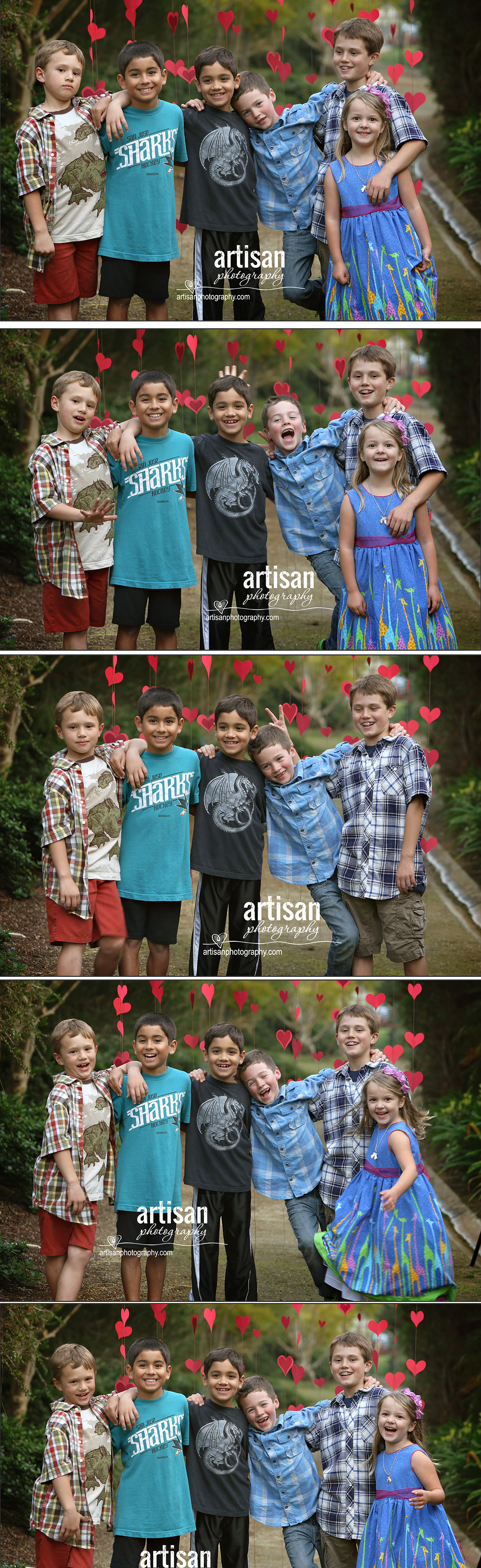 Valentines Day Photos of the kids with red hearts in the backgroun
