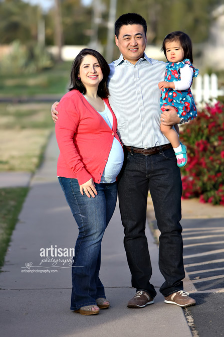 family maternity image mother, father and daughter