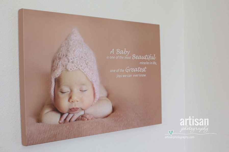 Artisan Photographhy Custom Designed Canvas With Baby Quote, hanging on the wall
