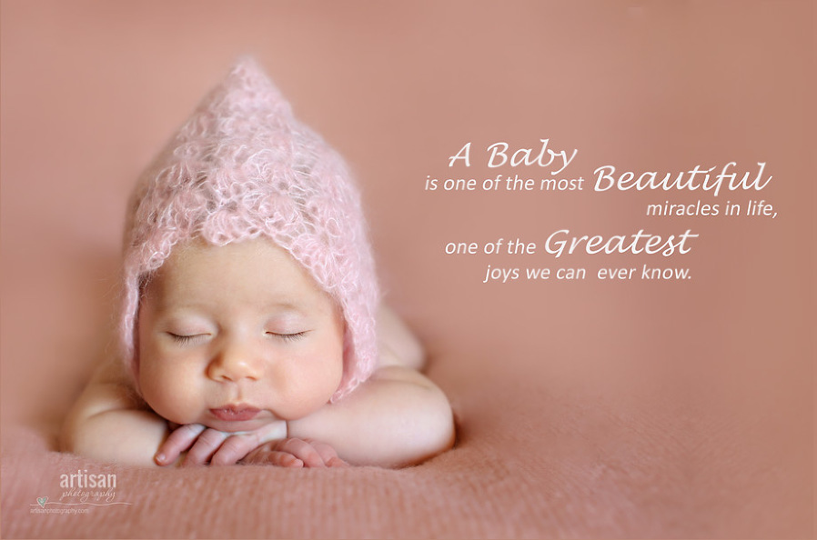 Artisan Photographhy Custom Designed Canvas With Baby Quote, baby girl in a cute pink bonnet on a dusty pink background