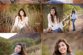 Carlsbad High School Senior Photos at a country location with tall grass, wooden bridges, rock formations and flowers. Two outfit changes beautiful setting
