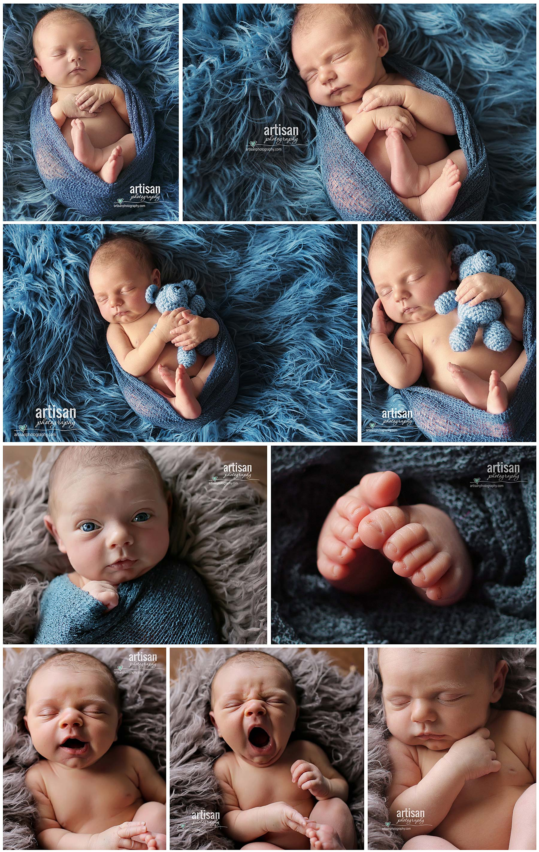 Carlsbad newborn photographer, photos of baby boy in blue background as well as closeup shots. North county Photographer