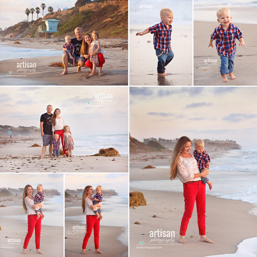 Family photoshoot on the beach in carlsbad with beautiful color coordinated outfits orange and blue images of the parents and two small kids.  Kids playing in the ocean.Carlsbad family photographer