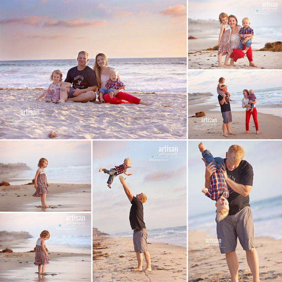 Family photoshoot on the beach in carlsbad with beautiful color coordinated outfits orange and blue images of the parents and two small kids. Carlsbad family photographer