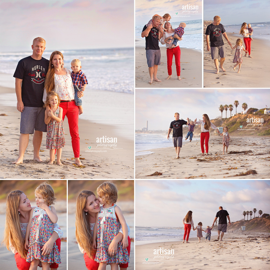 Family photoshoot on the beach in carlsbad with beautiful color coordinated outfits orange and blue. Carlsbad family photographer