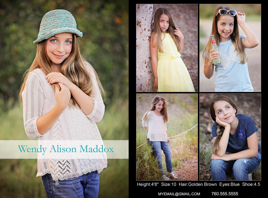 Children comp card example Carlsbad Children Photographer