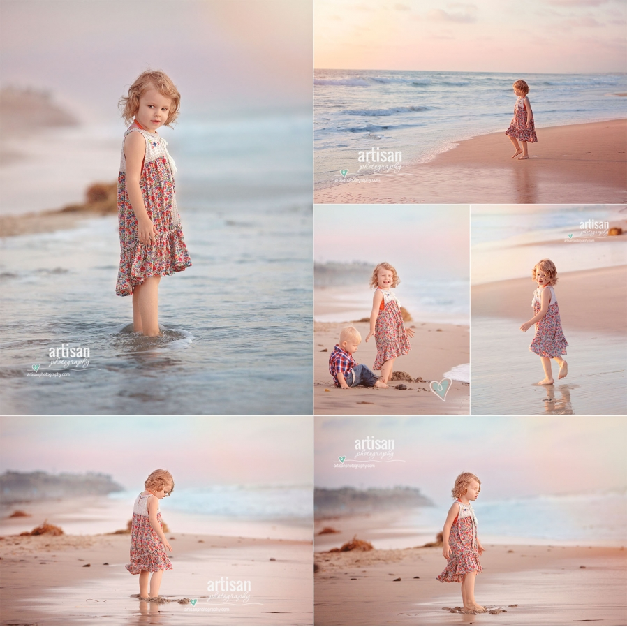 Artisan Photography girl on the beach, Carlsbad beach family photographer