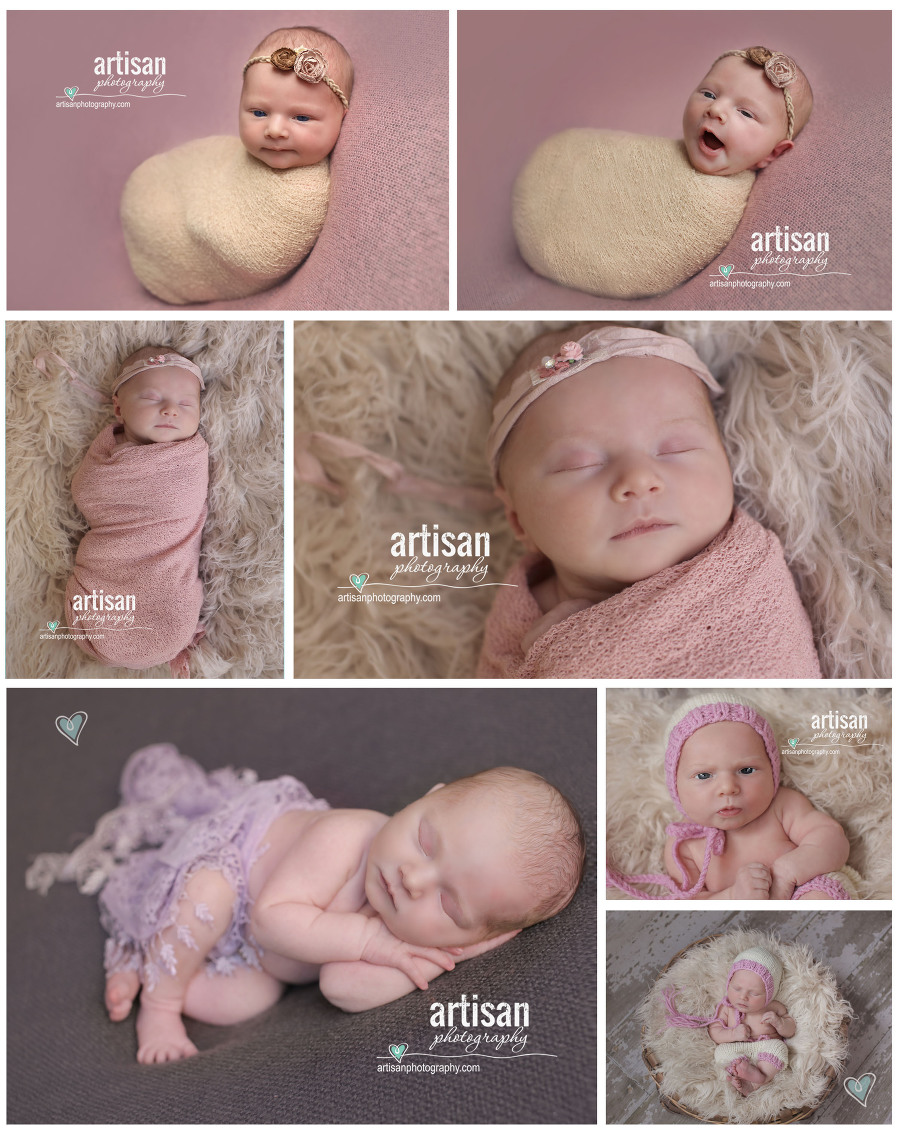 beautiful Newborn baby girl photos on a pink blanket