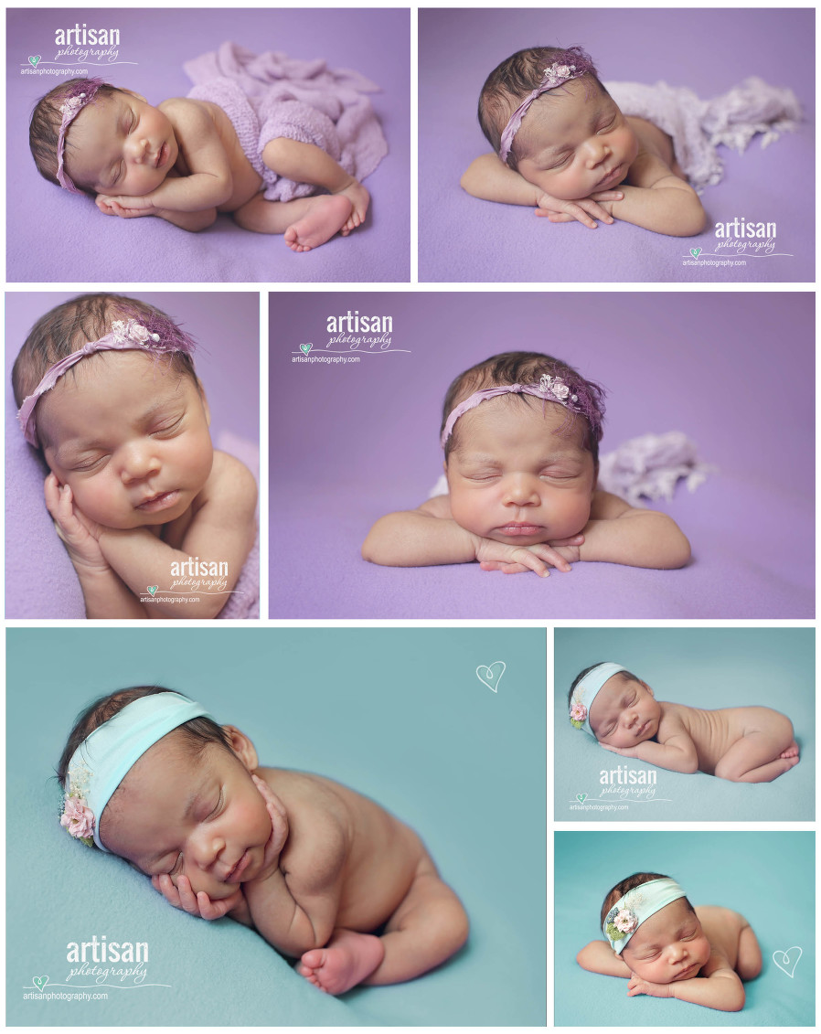 Newborn photo session bright colors with cute headbands and wraps