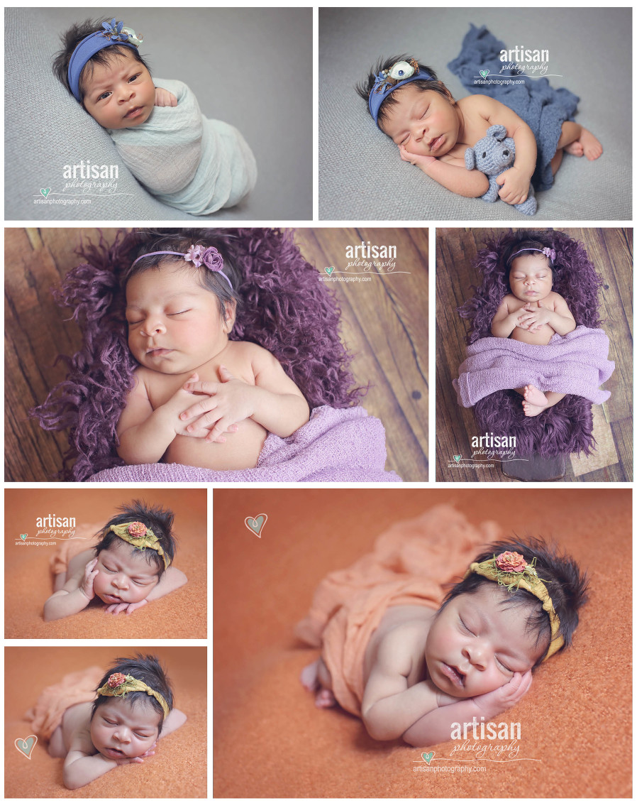 Artisan Photography newborn photos, baby girl on colorful backgrounds and cute headbands