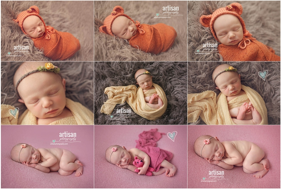 Newborn baby girl on three different poses with cute headbands on grey and pink background at our Carlsbad studio in California