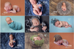 Carlsbad newborn photographer cute baby boy with different color backgrounds