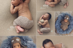 newborn baby boy photographed in aviator hat and cute beige pants by Carlsbad Studio Artisan Photography