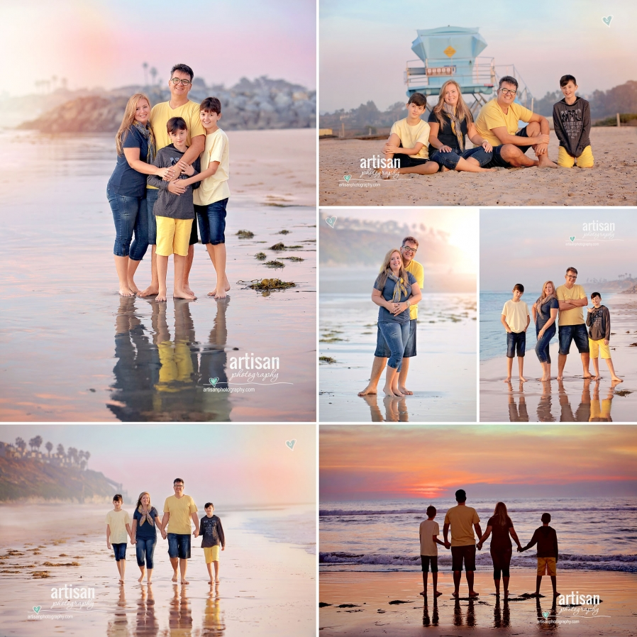Family photoshoot on the beach color coordinating yellow, grey and blue for a beautiful composition - Artisanphotography.com image - Carlsbad photographer