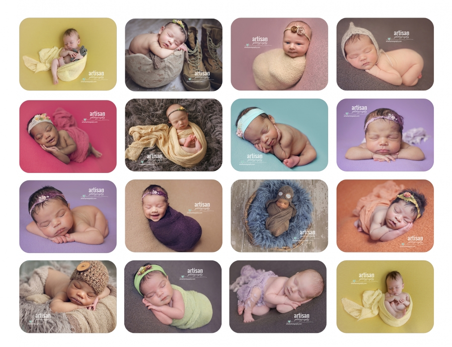 Artisan Photography newborn baby photos, all different poses, Carlsbad photographer