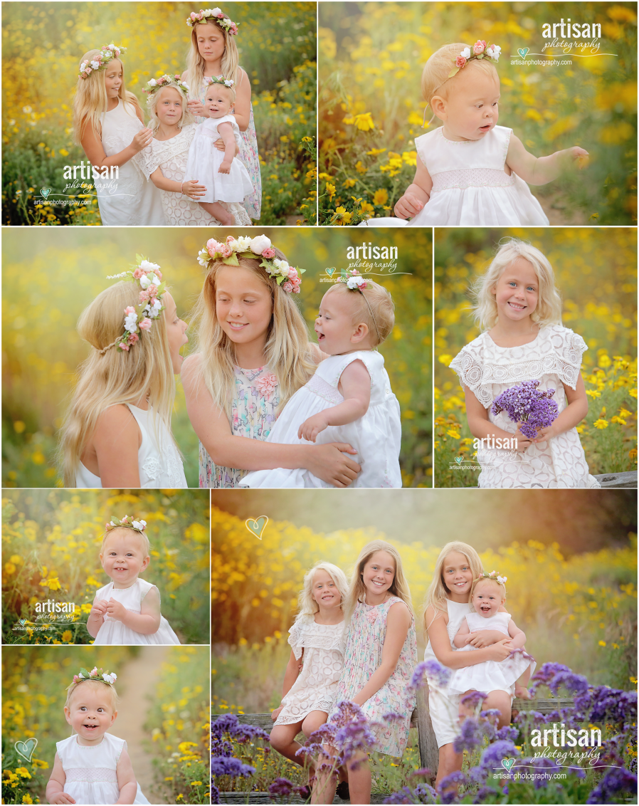 girls wearing flower crowns in Carlsbad on a field full of yellow flowers with white dresses very organic feel to the images