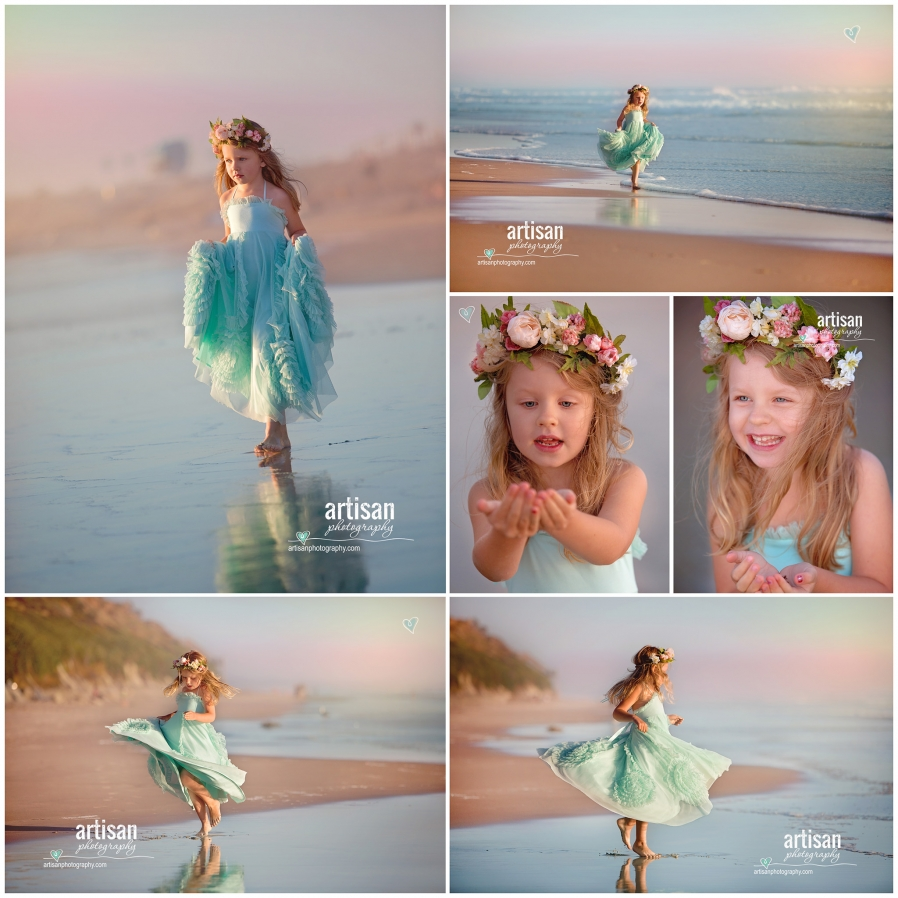 Artisan Photography Styled beach photoshoot, girl on carlsbad california beach with princess dress
