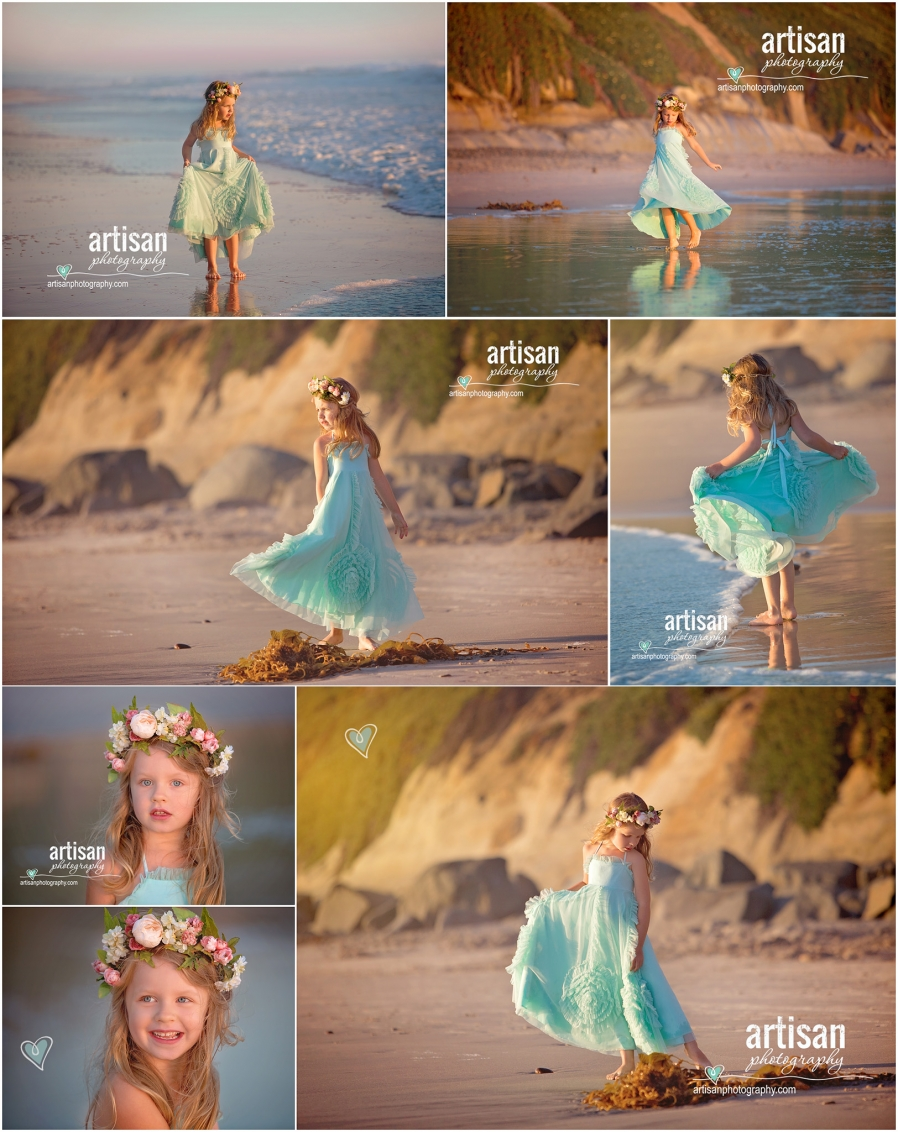 Artisan Photography Styled beach photoshoot, girl dancing on carlsbad california beach with princess dress
