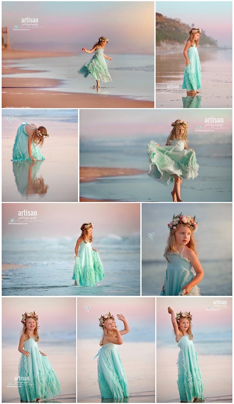 Artisan Photography Styled beach photoshoot, girl twirling on carlsbad california beach with princess dress