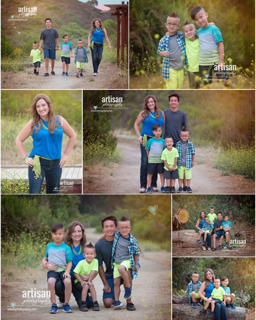Carlsbad Family Photography on a trail mom and boys in blue yellow and grey