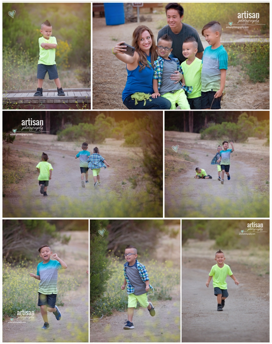 boys running up and down the trail path in carlsbad California trail, little boys having fun
