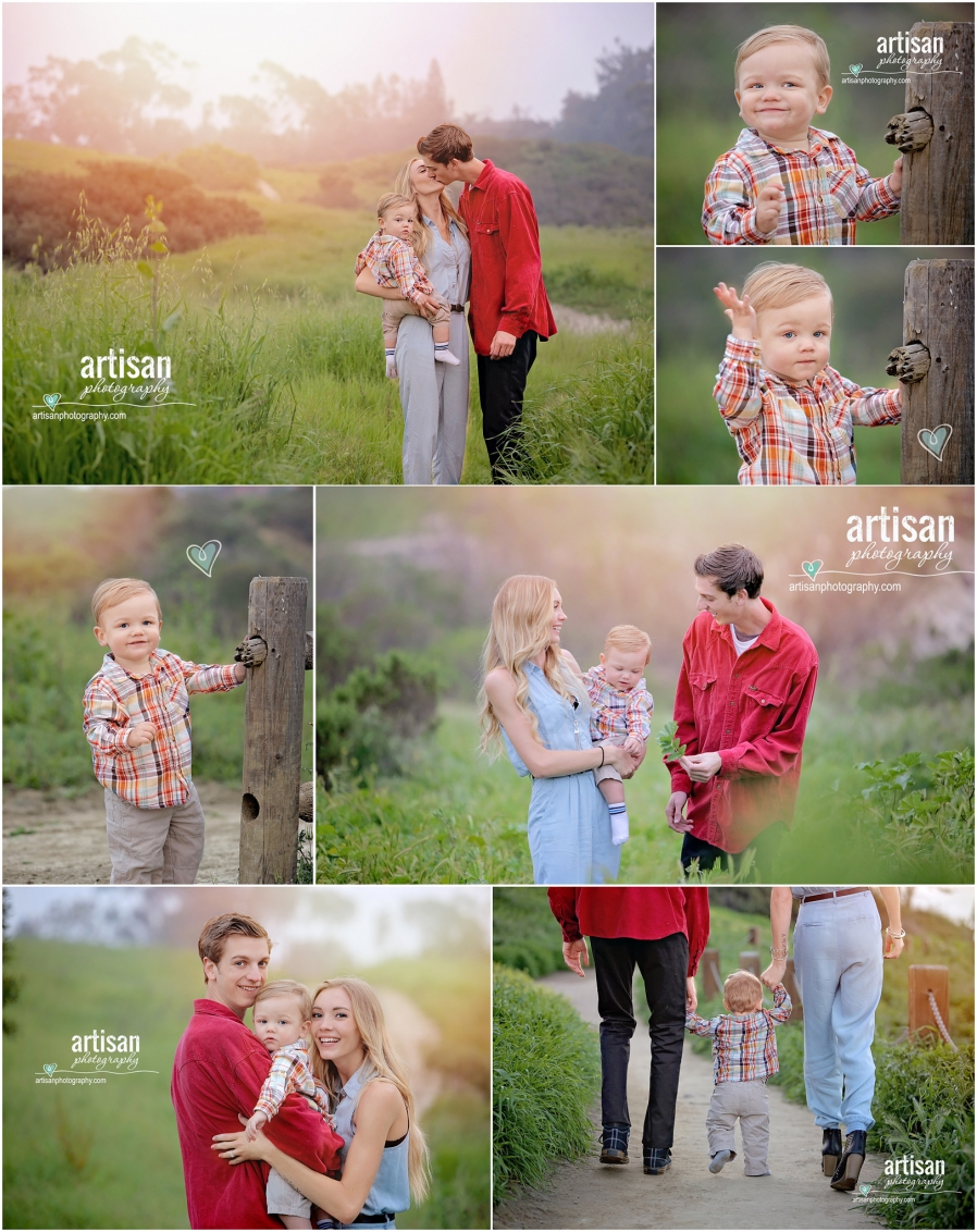 family photo, mom dad and little toddler boy, carlsbad photographer greater San Diego area, fog in beautiful photos