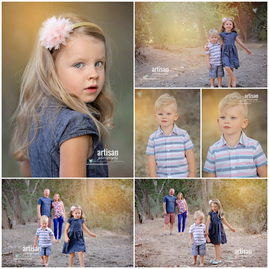 Family Photoshoot cool trails and kids closeup portrait shots on cool trail, nature background