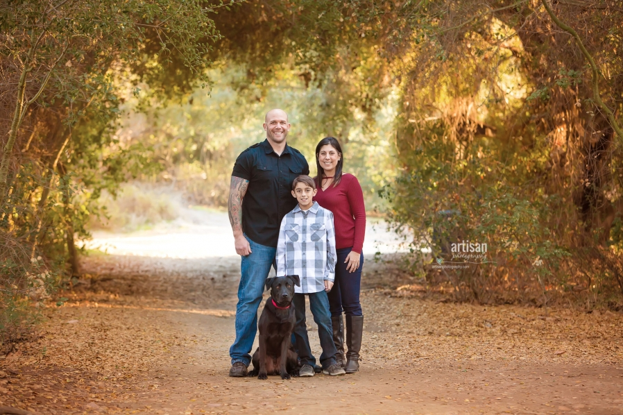 San Diego Family Session with  a dog, beautiful trail and trees