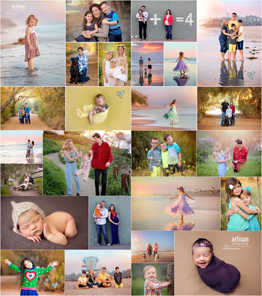 collection of favorite portrait images of family, newborn, beach photo shoots, nature shoots in carlsbad California
